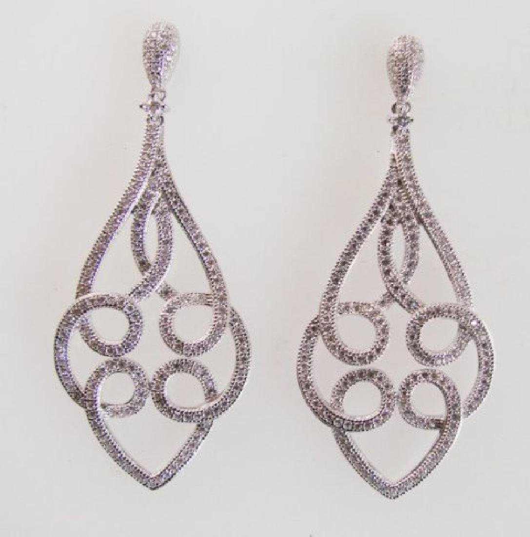 Ceation Diamond Chandeliers Ear 2.00Ct 18k W/g Ove - 3