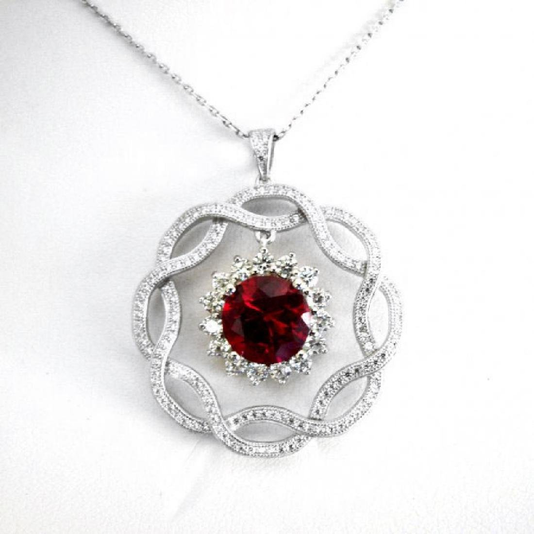 Creation Daimond Ruby Pendant 7.93Ct 18k W/g Overlay