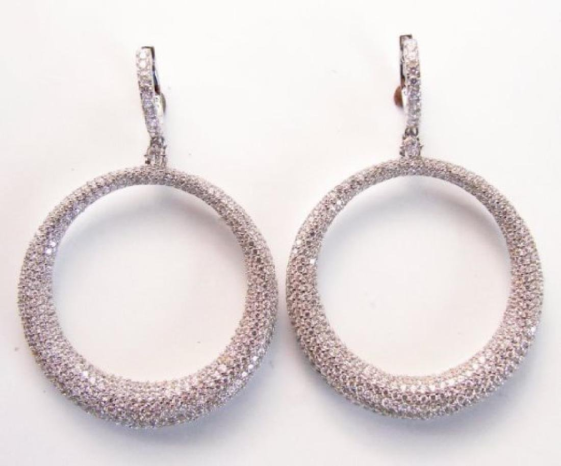 Creation Diamond Dangle Earring 8.25Ct 18k W/g Overlay