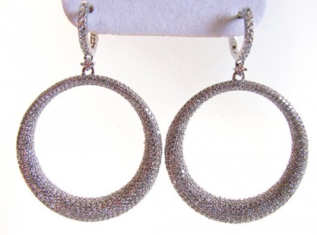 Creation Diamond Dangle Earring 8.25Ct 18k W/g Overlay - 2
