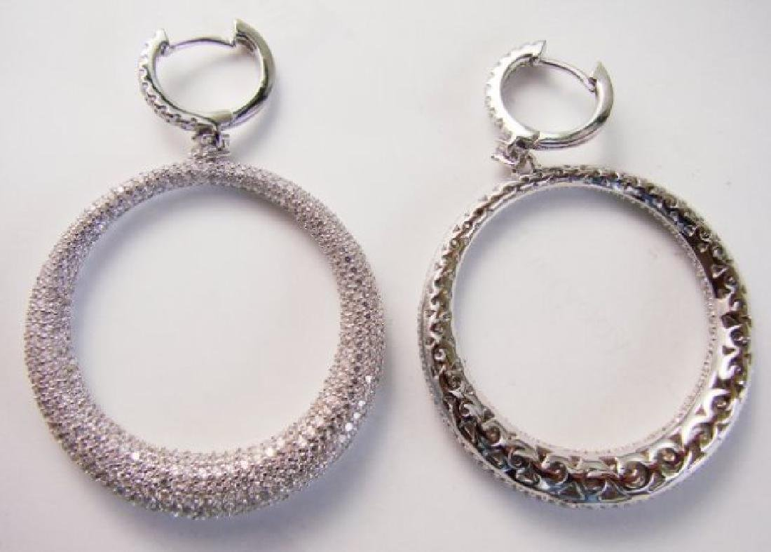 Creation Diamond Dangle Earring 8.25Ct 18k W/g Overlay - 3