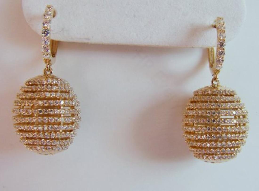 Creation Diamond Dangle Earring 2.45Ct 18kY/g Over - 2