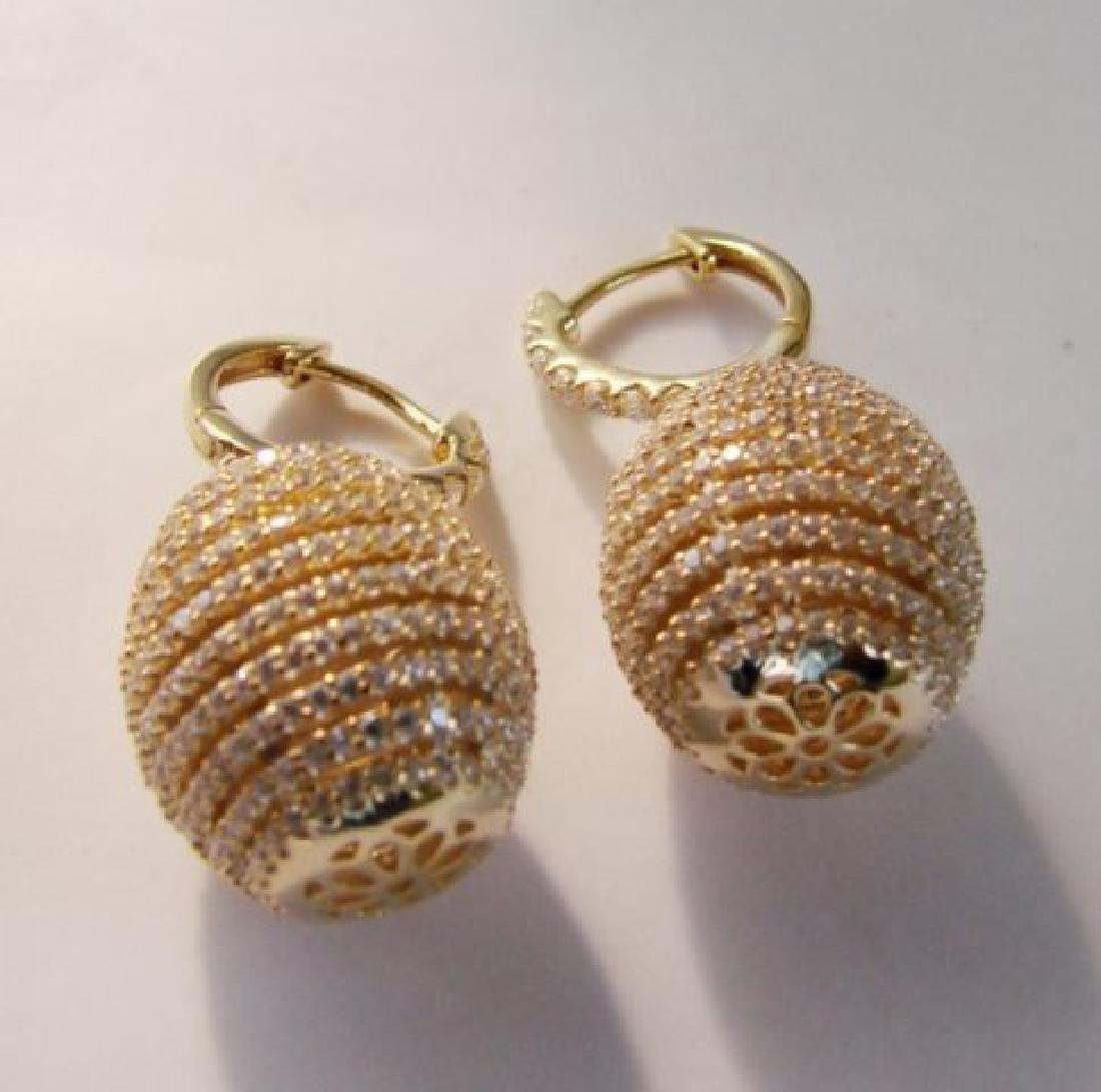 Creation Diamond Dangle Earring 2.45Ct 18kY/g Over - 3