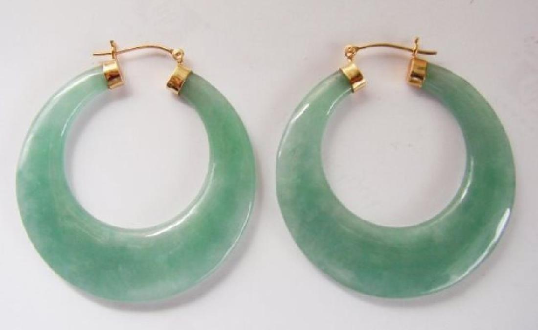 Natural Green Jadeite Jade Hoop Earring 14k Y/g