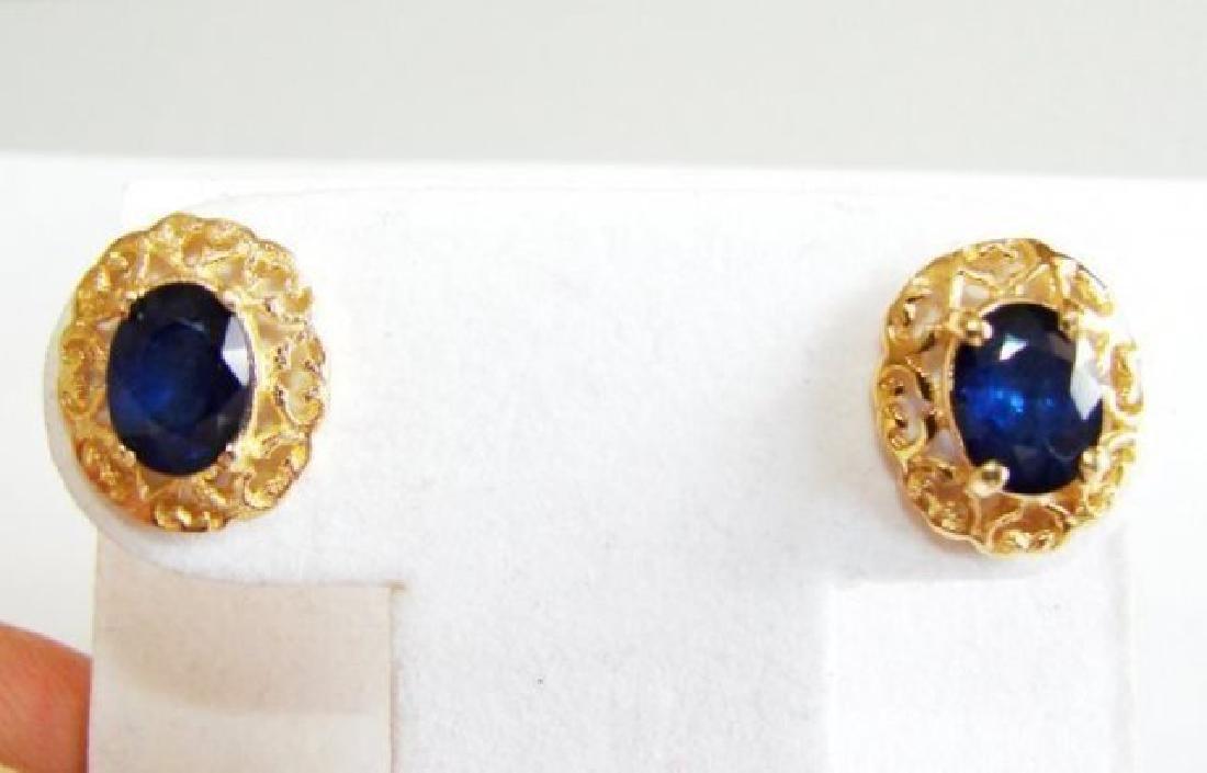 Natural Blue Sapphire Earrings 2.72Ct 14k Y/g