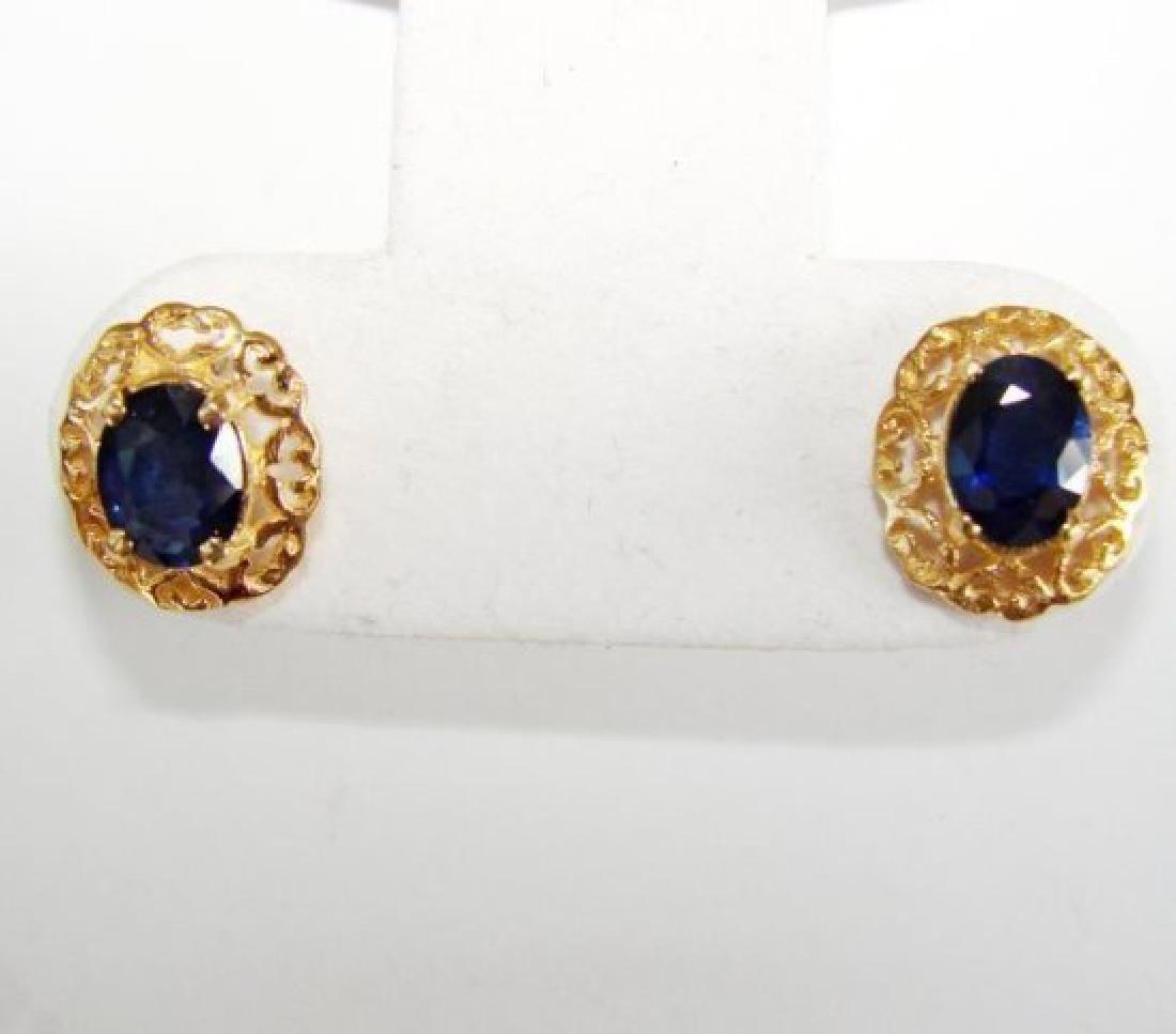 Natural Blue Sapphire Earrings 2.72Ct 14k Y/g - 2