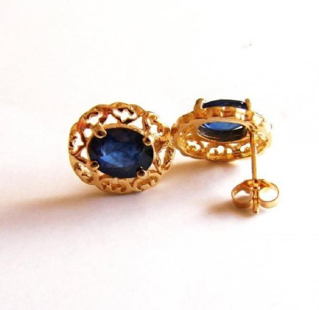 Natural Blue Sapphire Earrings 2.72Ct 14k Y/g - 3