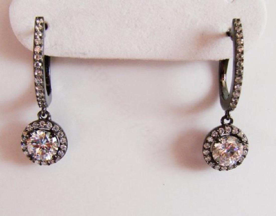 Creation Diamond Dangle Earring 2.45Ct 18k B/g - 2