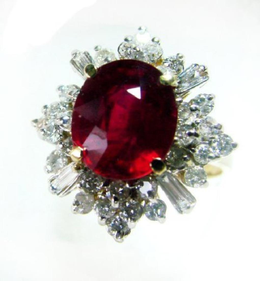 Anniversary Ruby Diamond Rin 5.48Ct 14k Y/g