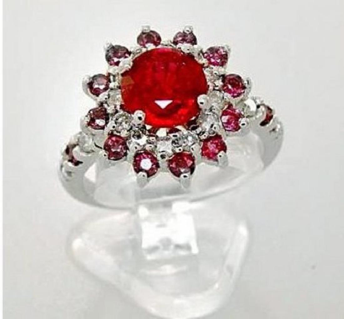 Anniversary Ruby Diamond Ring 4.86Ct 14k W/g