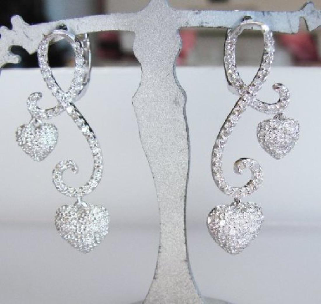 Double Heart Diamond Earring 1.42Ct 18K W/G