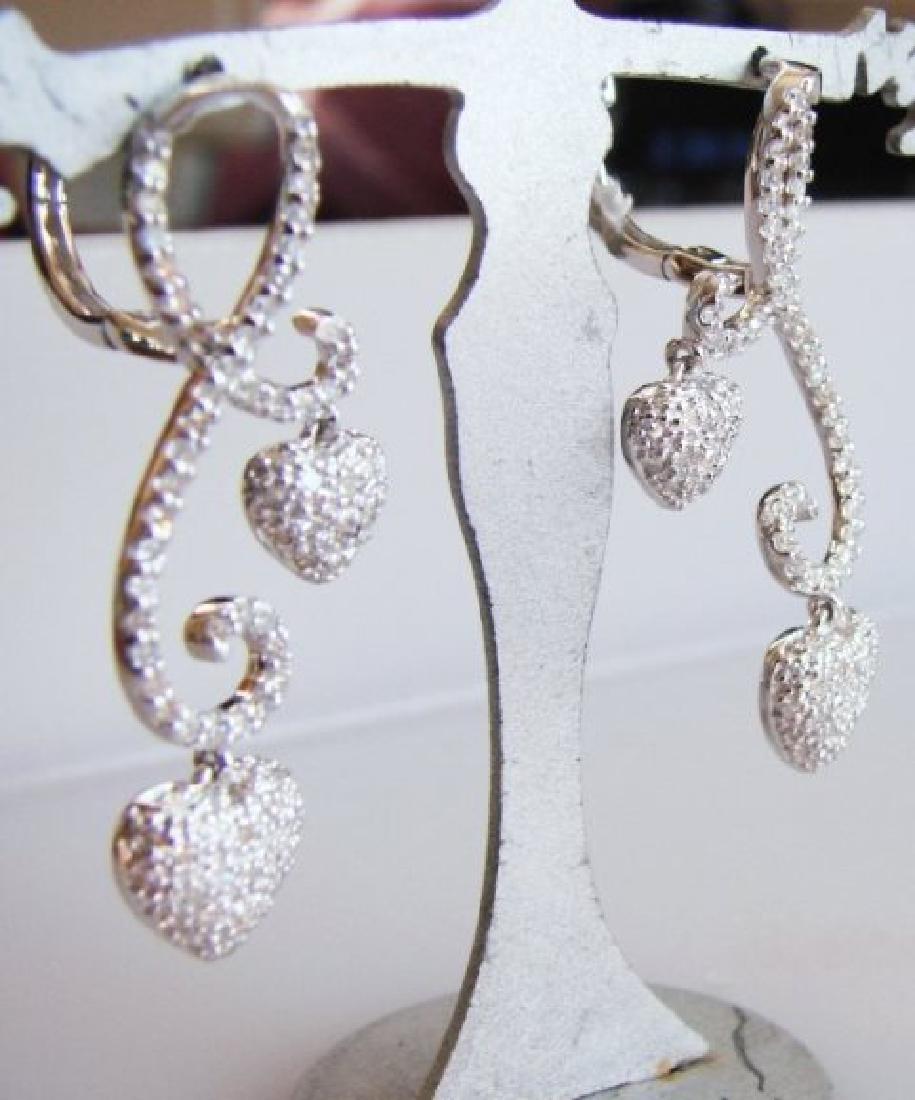 Double Heart Diamond Earring 1.42Ct 18K W/G - 2