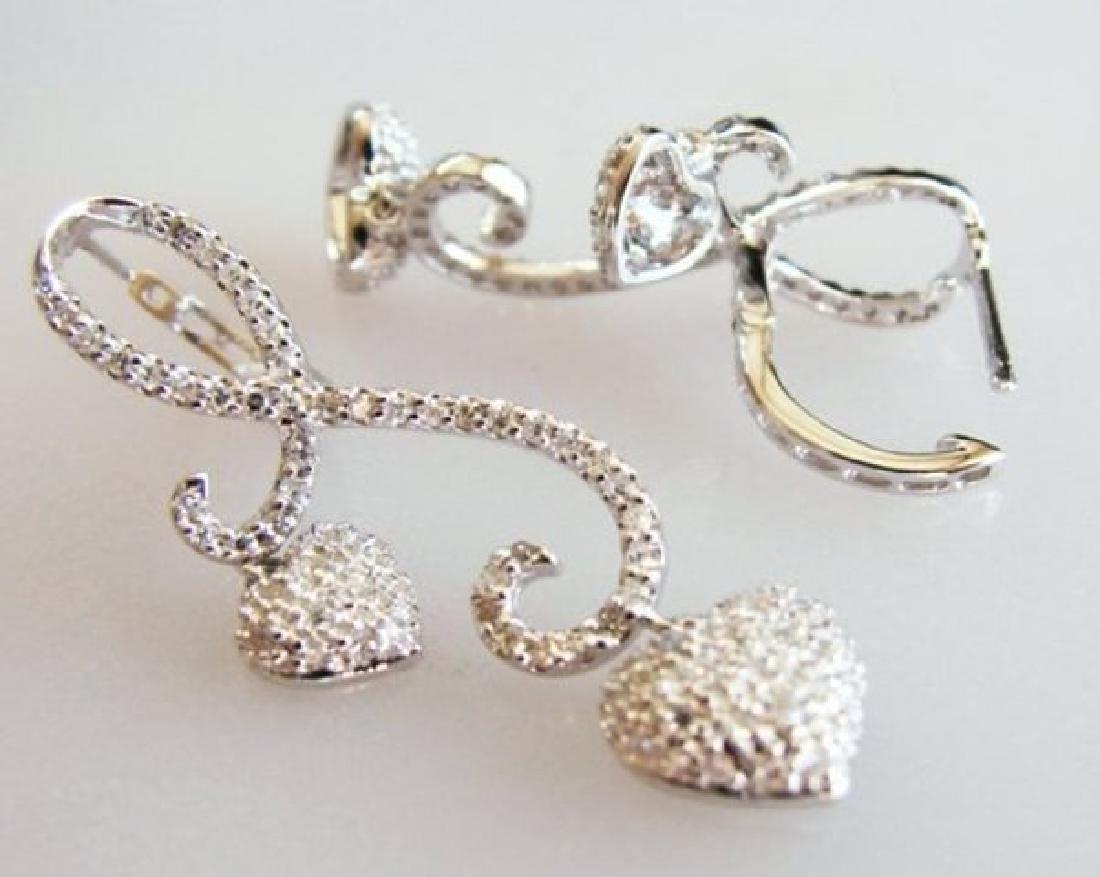 Double Heart Diamond Earring 1.42Ct 18K W/G - 3