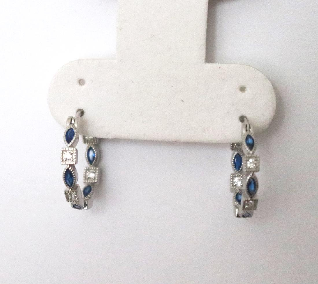Creation Diamond Sapphire Earrings 1.70Ct 18k W/g