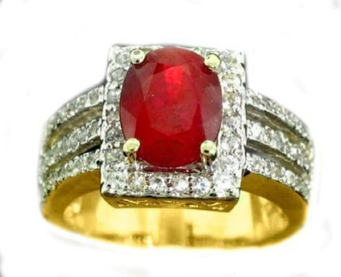 Anniversary Ruby Diamond Ring 4.59Ct 14k Y/g