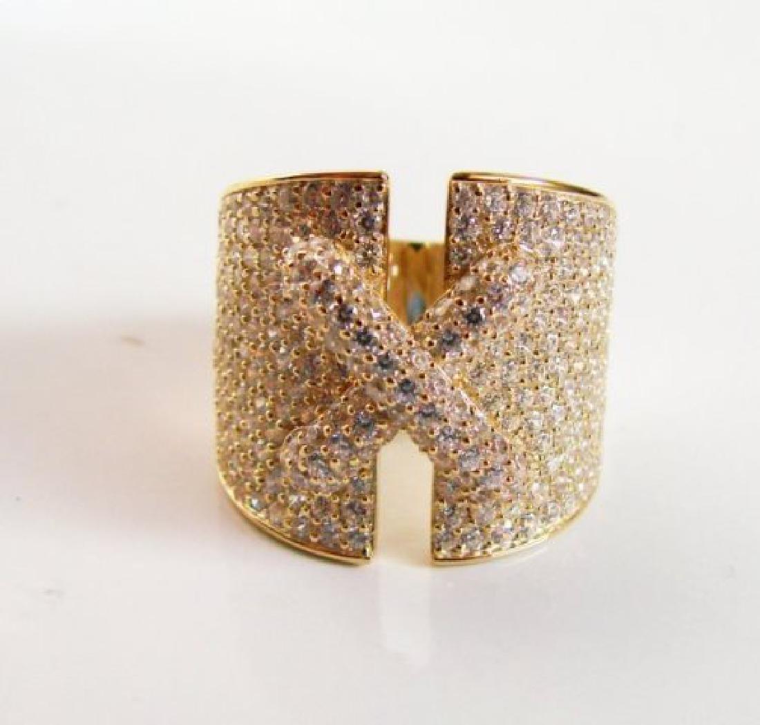 Creation Diamond Ring 3.20Ct 18k Y/g Overlay