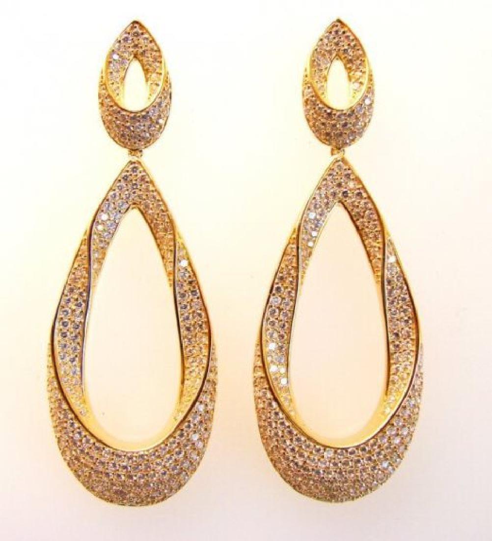 Creation Diamond Chandeliers Ear 5.85Ct 18k Y/g Overlay