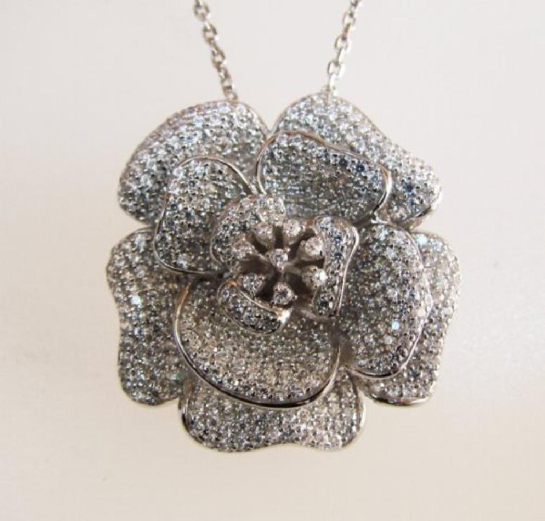 Creation Diamond Flower Pendant 3.87Ct 18k W/g Overlay