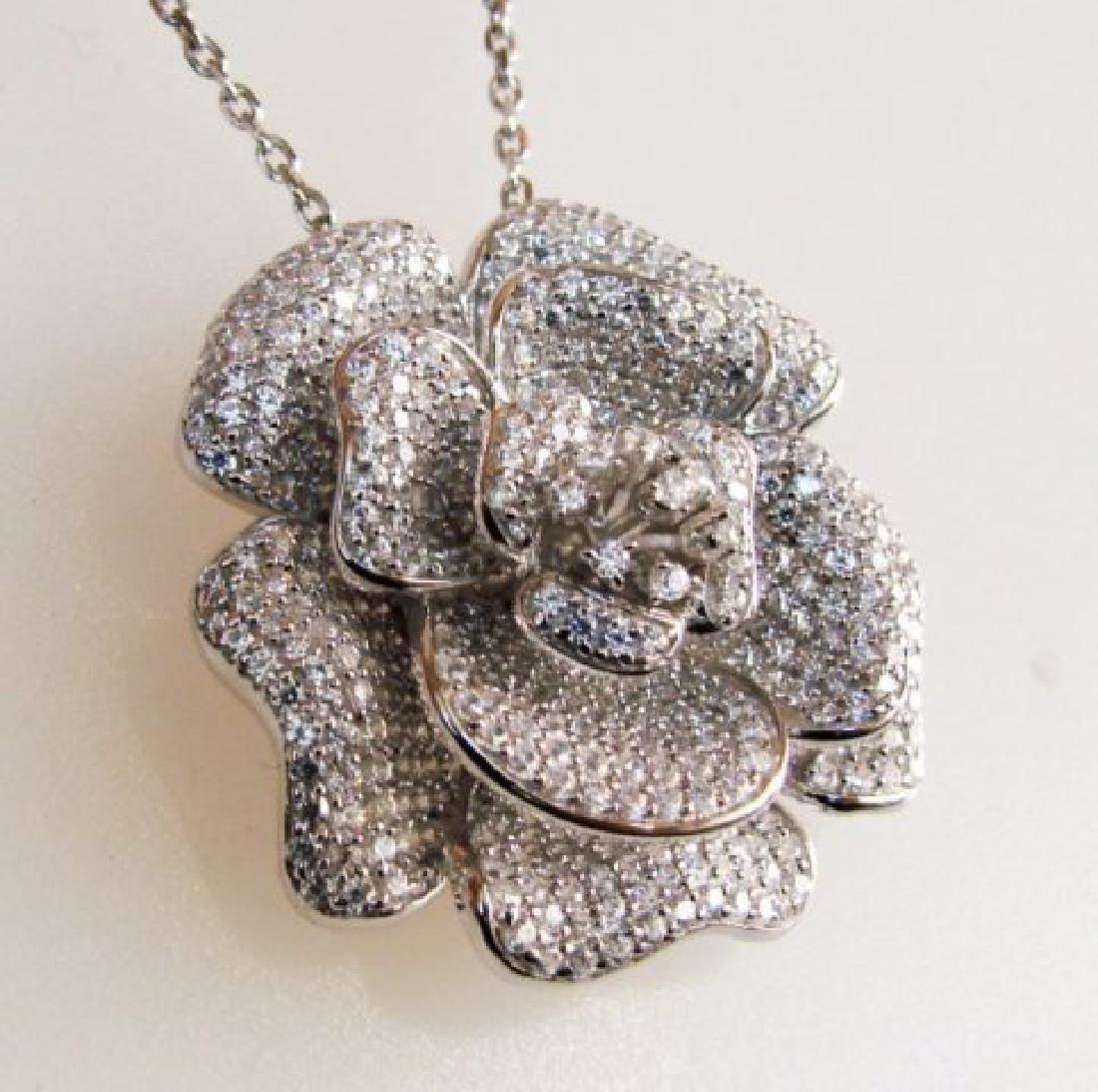 Creation Diamond Flower Pendant 3.87Ct 18k W/g Overlay - 2