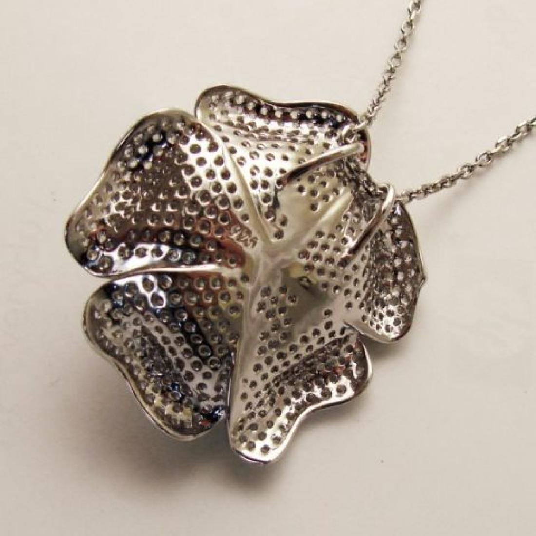 Creation Diamond Flower Pendant 3.87Ct 18k W/g Overlay - 3
