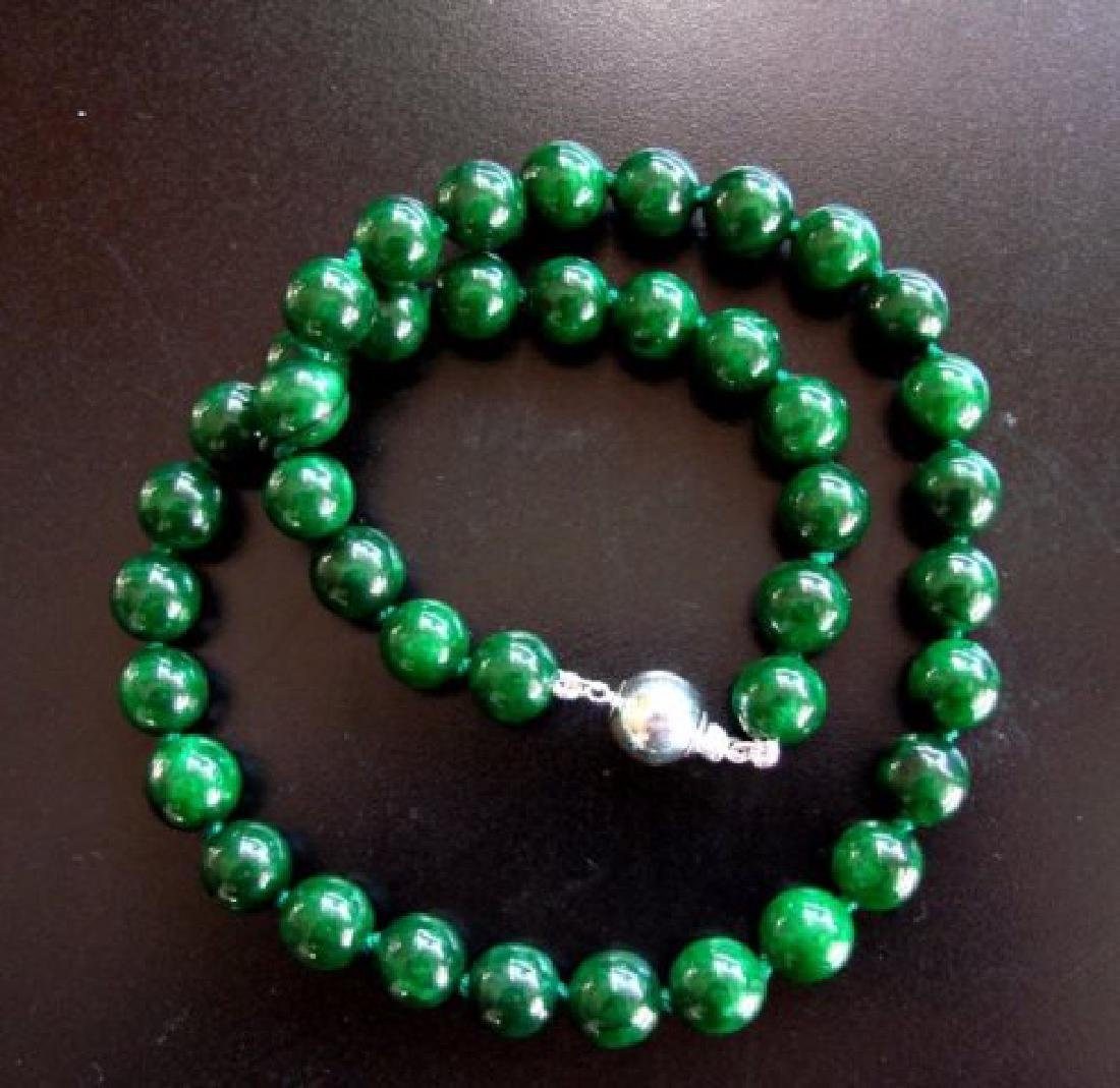 Natural Jadeite Jade Bead Green Spinach Necklace - 2
