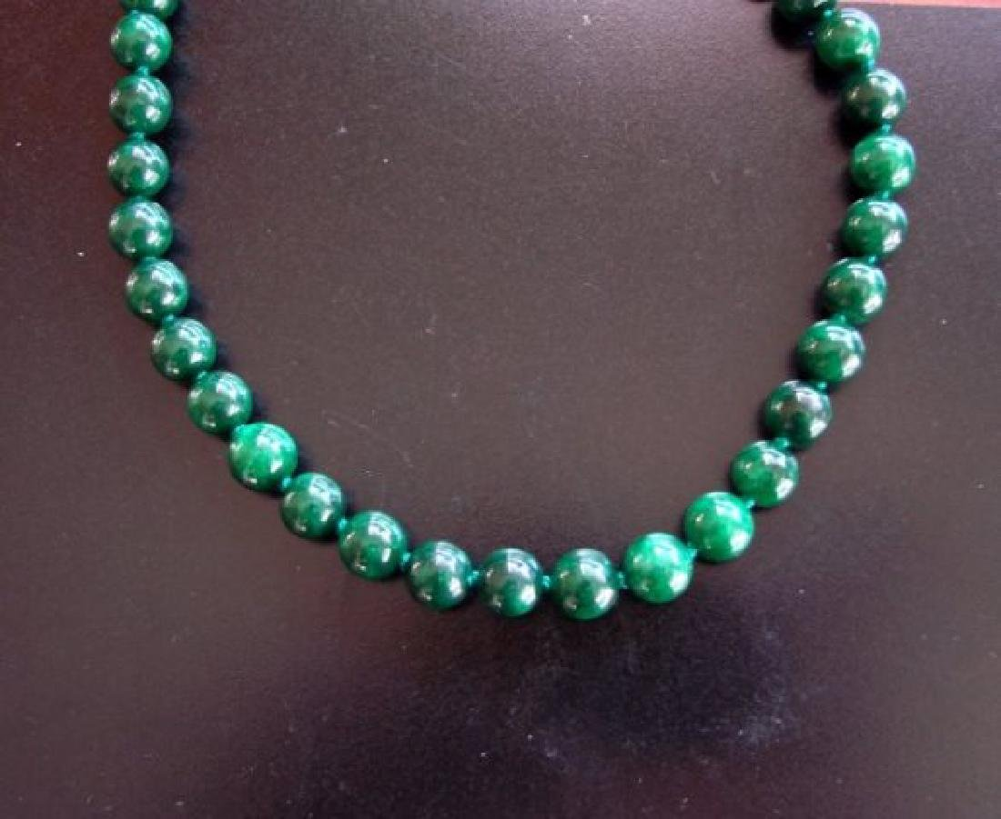 Natural Jadeite Jade Bead Green Spinach Necklace - 3