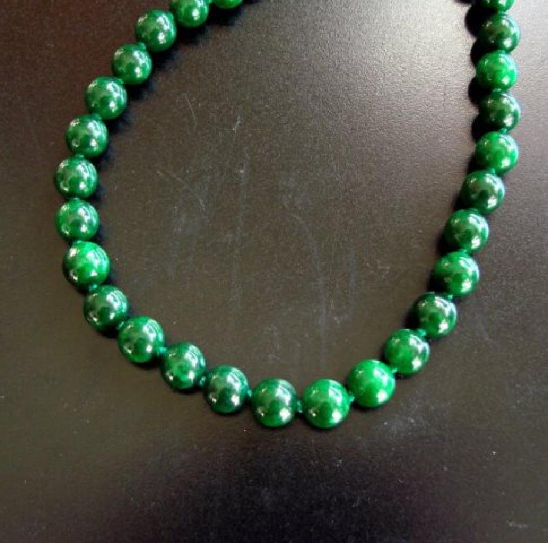 Natural Jadeite Jade Bead Green Spinach Necklace - 4