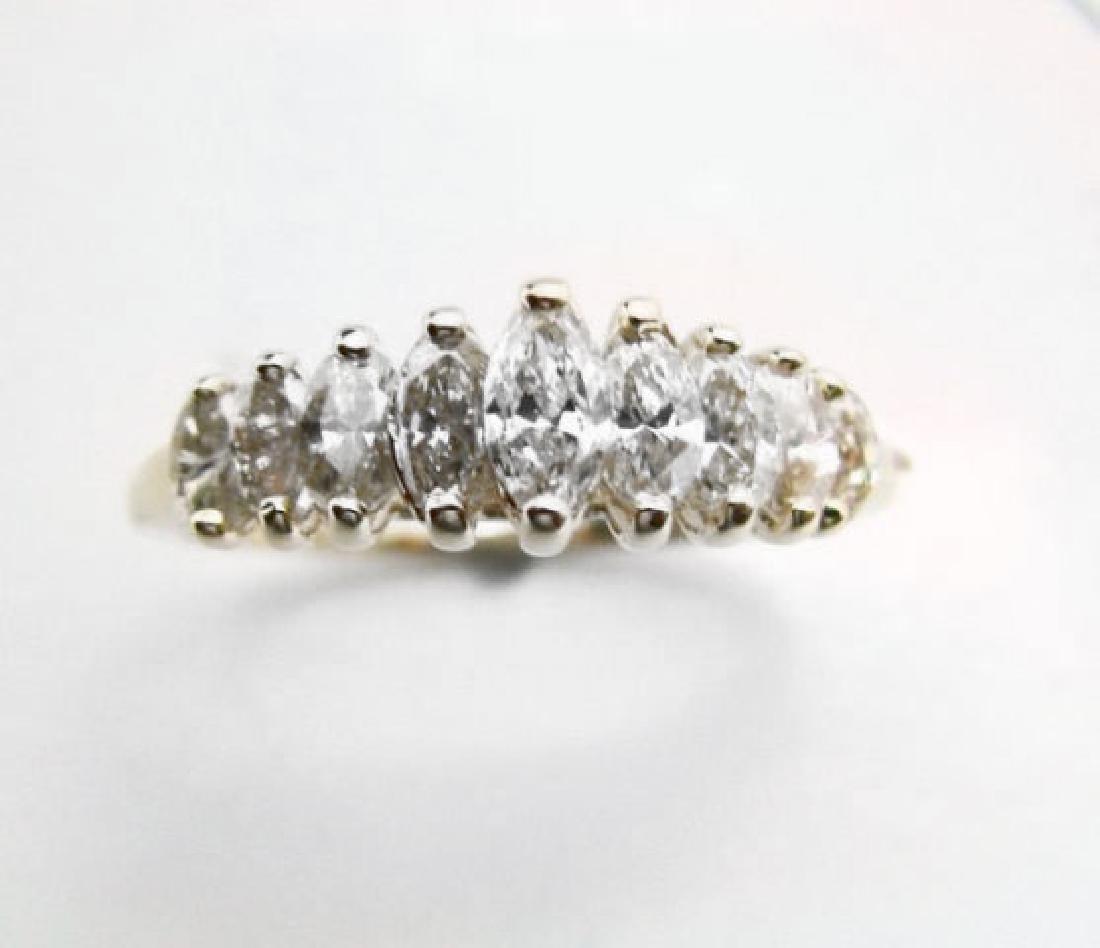 Anniversary Diamond Marquise Ring 1.02Ct 14k Y/g