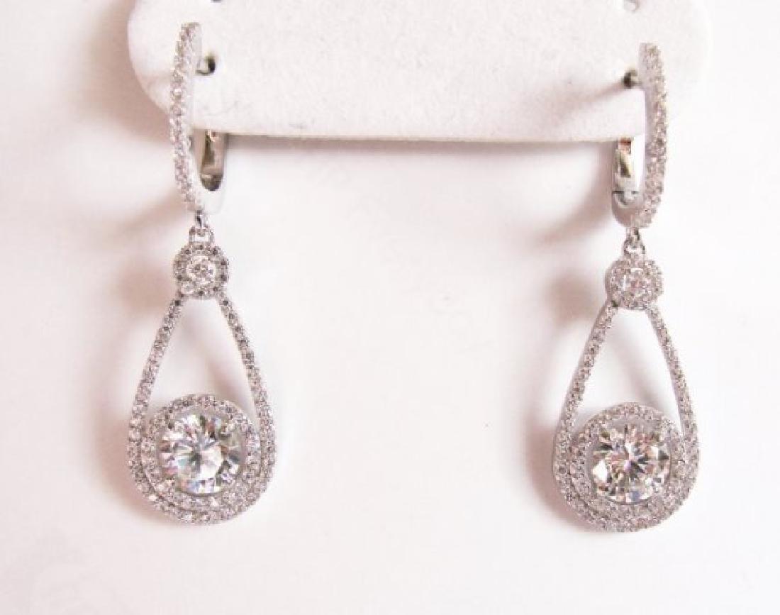 Creation Diamond  Earrings 3.94Ct 18k W/g Overlay - 2