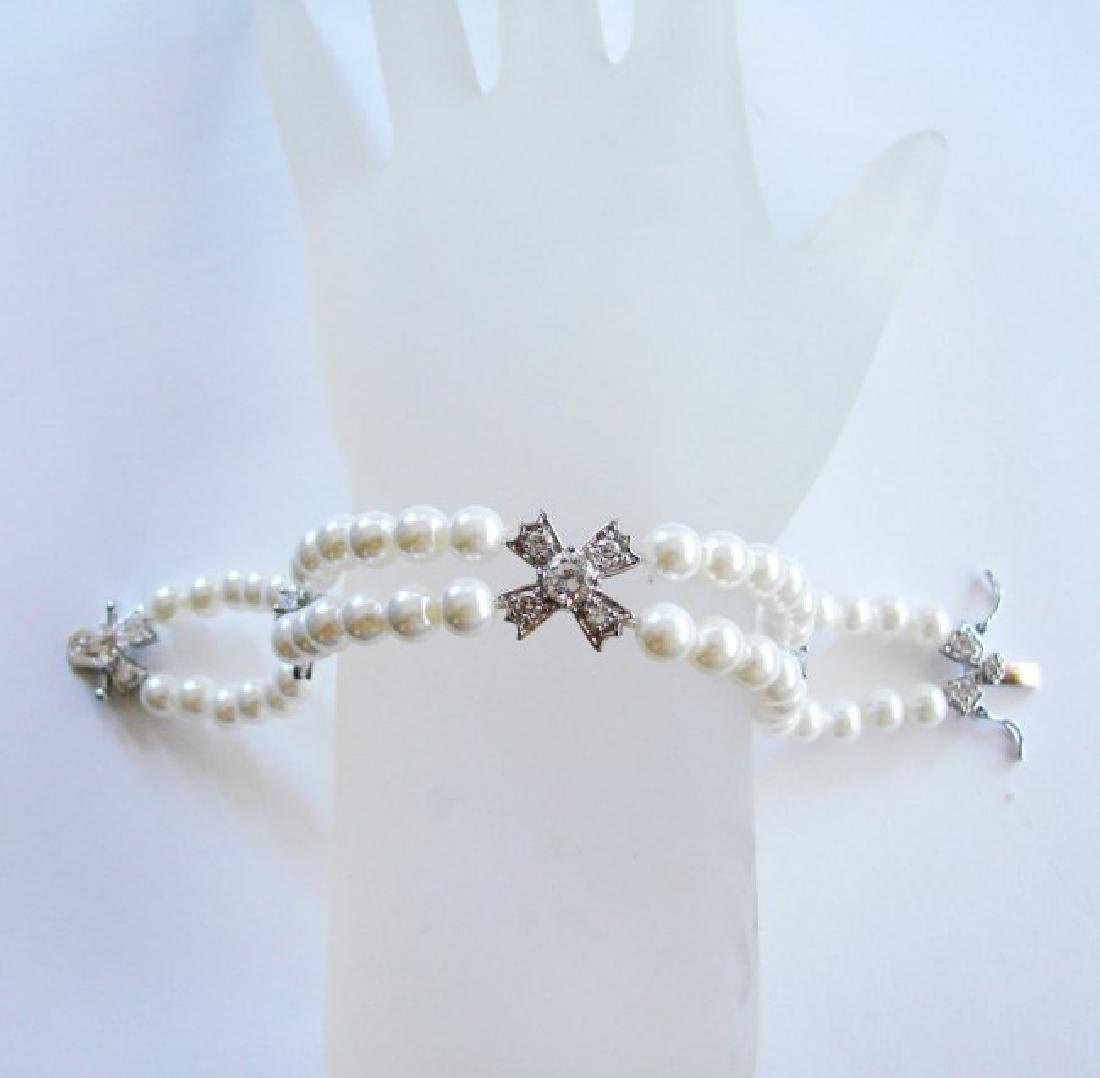 Bracelet Pearl Diamond Creation 4.65Ct 18k W/g Overlay