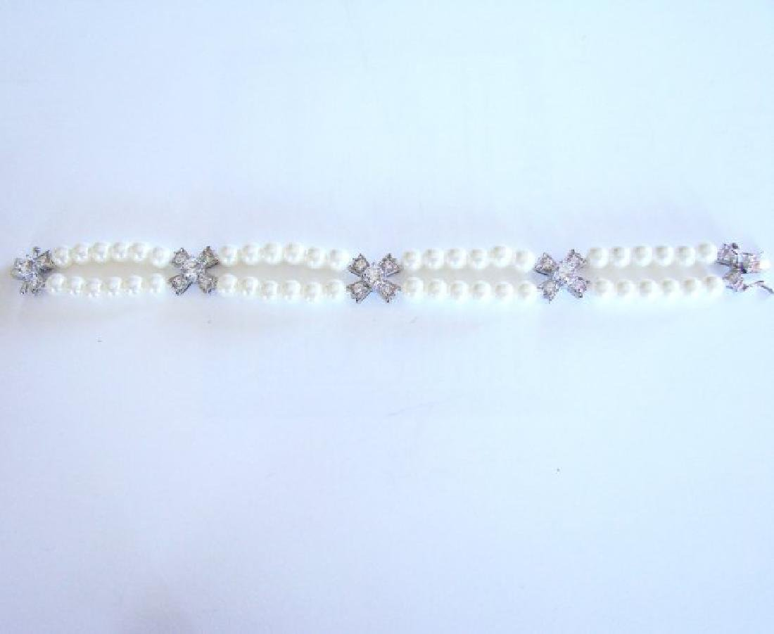 Bracelet Pearl Diamond Creation 4.65Ct 18k W/g Overlay - 6
