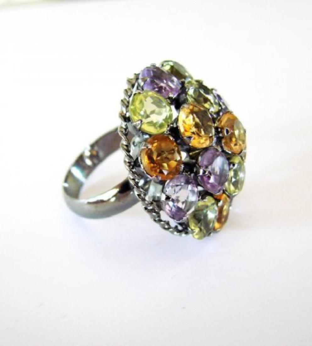 Multicolor Stone Ring 23.40Ct 18k B/g Overlay - 3
