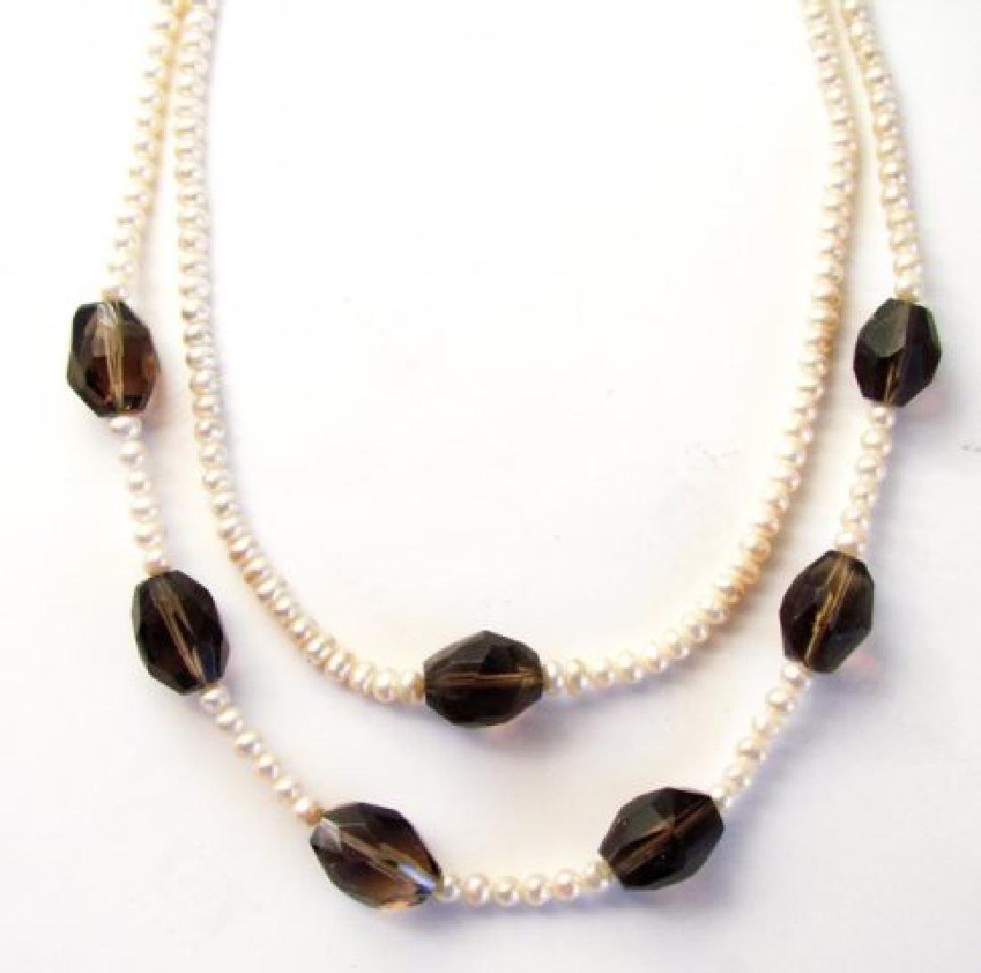 "Necklace Culture Pearl Smoky Topaz 32.83 grm 16"""