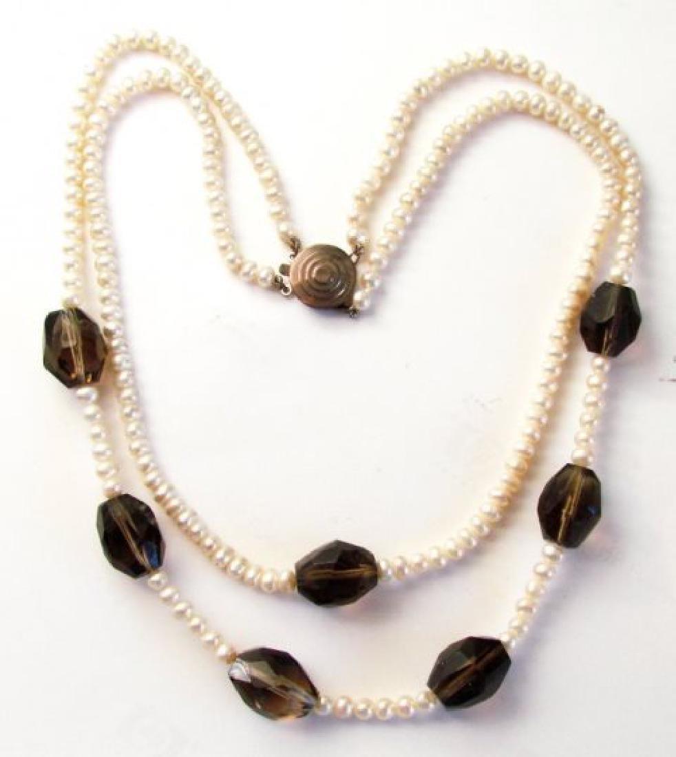 "Necklace Culture Pearl Smoky Topaz 32.83 grm 16"" - 2"