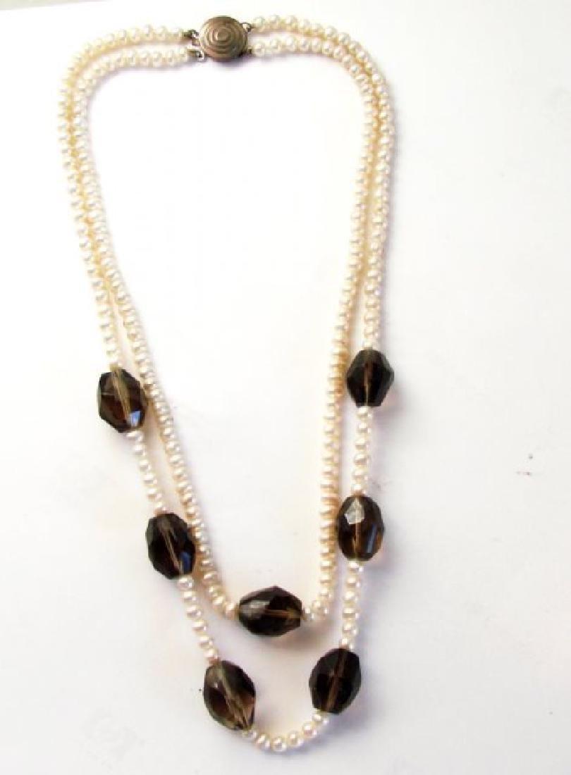 "Necklace Culture Pearl Smoky Topaz 32.83 grm 16"" - 3"