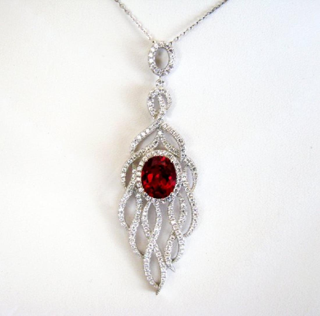 Creation Daimond Ruby Pendant 8.25Ct 18k W/g Overlay