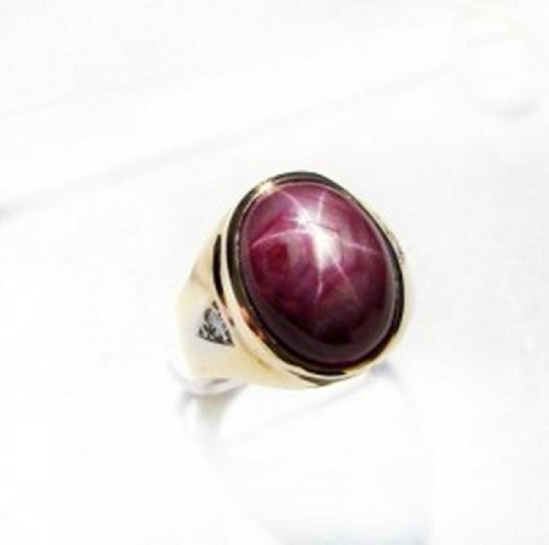 Natural Star Ruby Diamond Men Ring 15.77Ct 14K Y/g