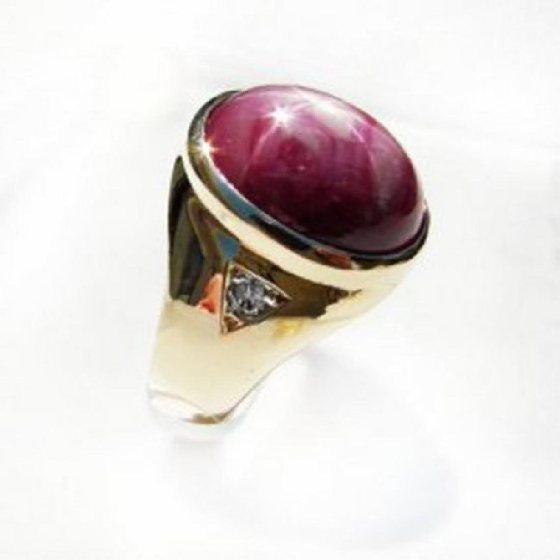 Natural Star Ruby Diamond Men Ring 15.77Ct 14K Y/g - 2