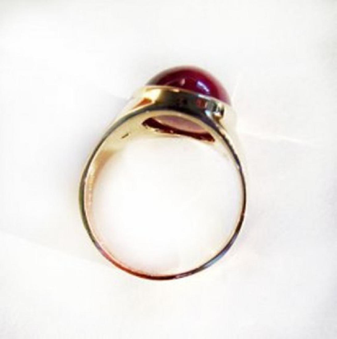 Natural Star Ruby Diamond Men Ring 15.77Ct 14K Y/g - 3