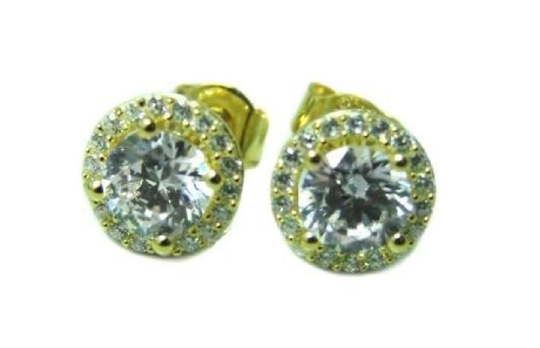 Creation Diamond Stud Earring 2.40Ct 18k Y/g Over