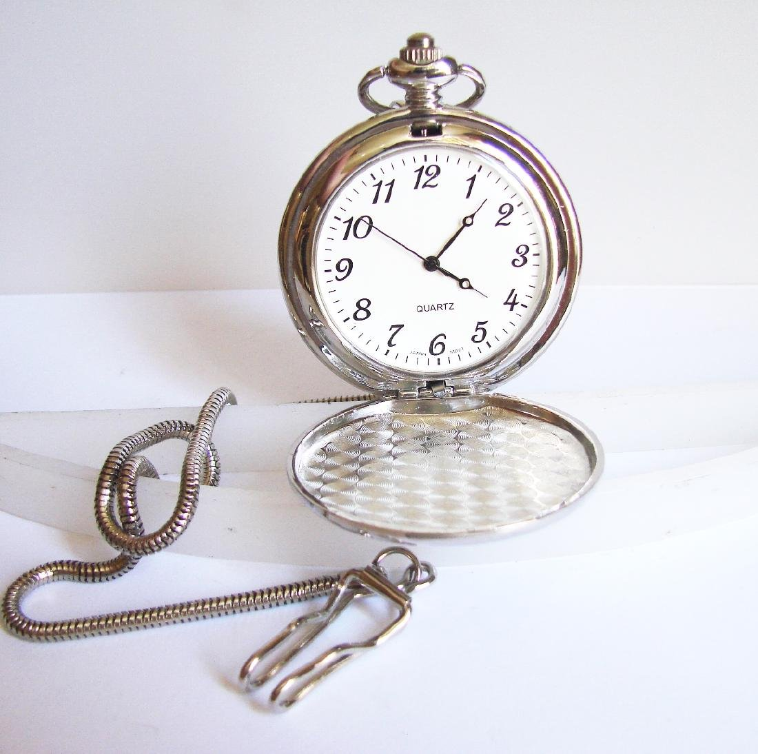 Pocket Watch Quartz Train 18k W/g Overlay
