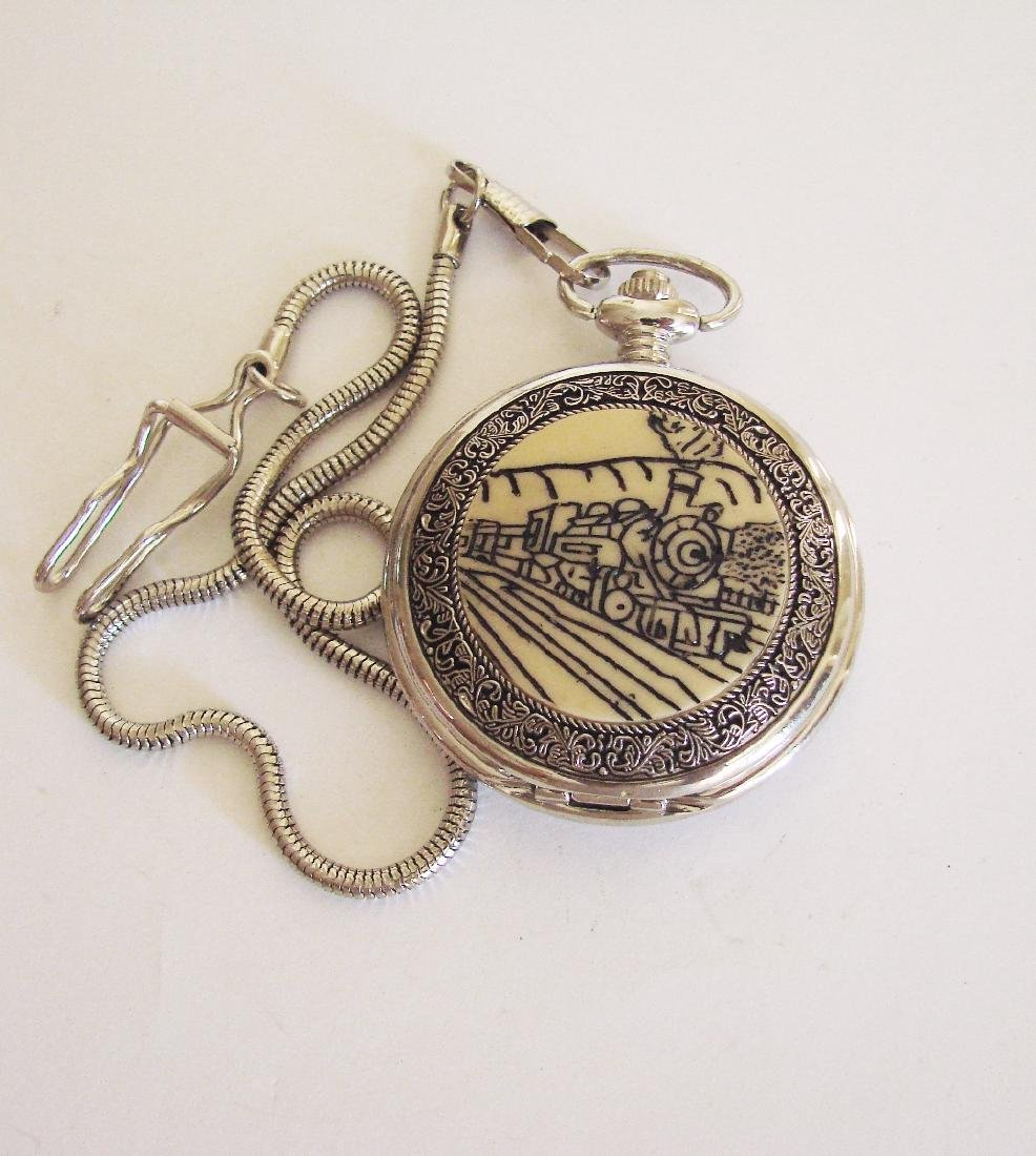 Pocket Watch Quartz Train 18k W/g Overlay - 2