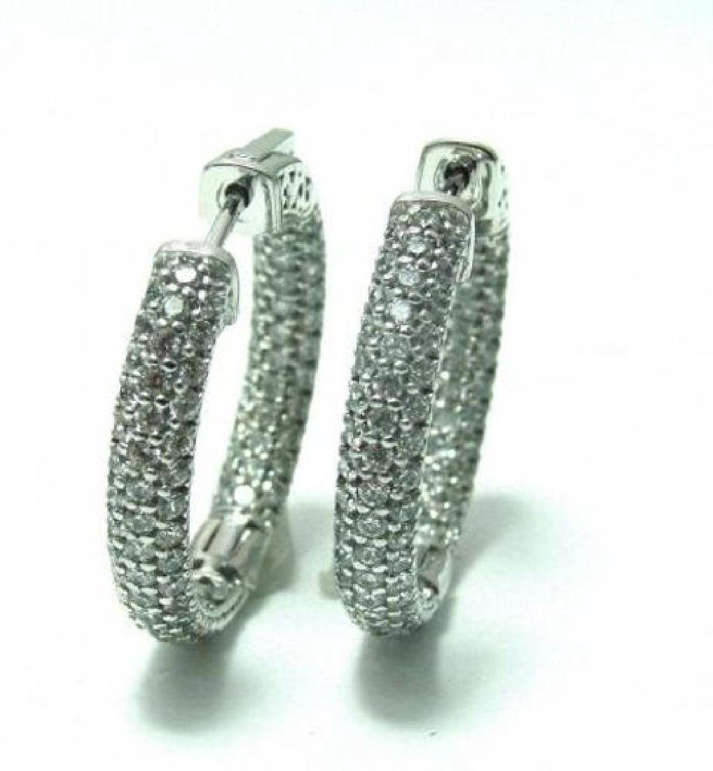 Hoop Earrings Creation Diamond 1.84Ct 18k W/g Overlay - 3