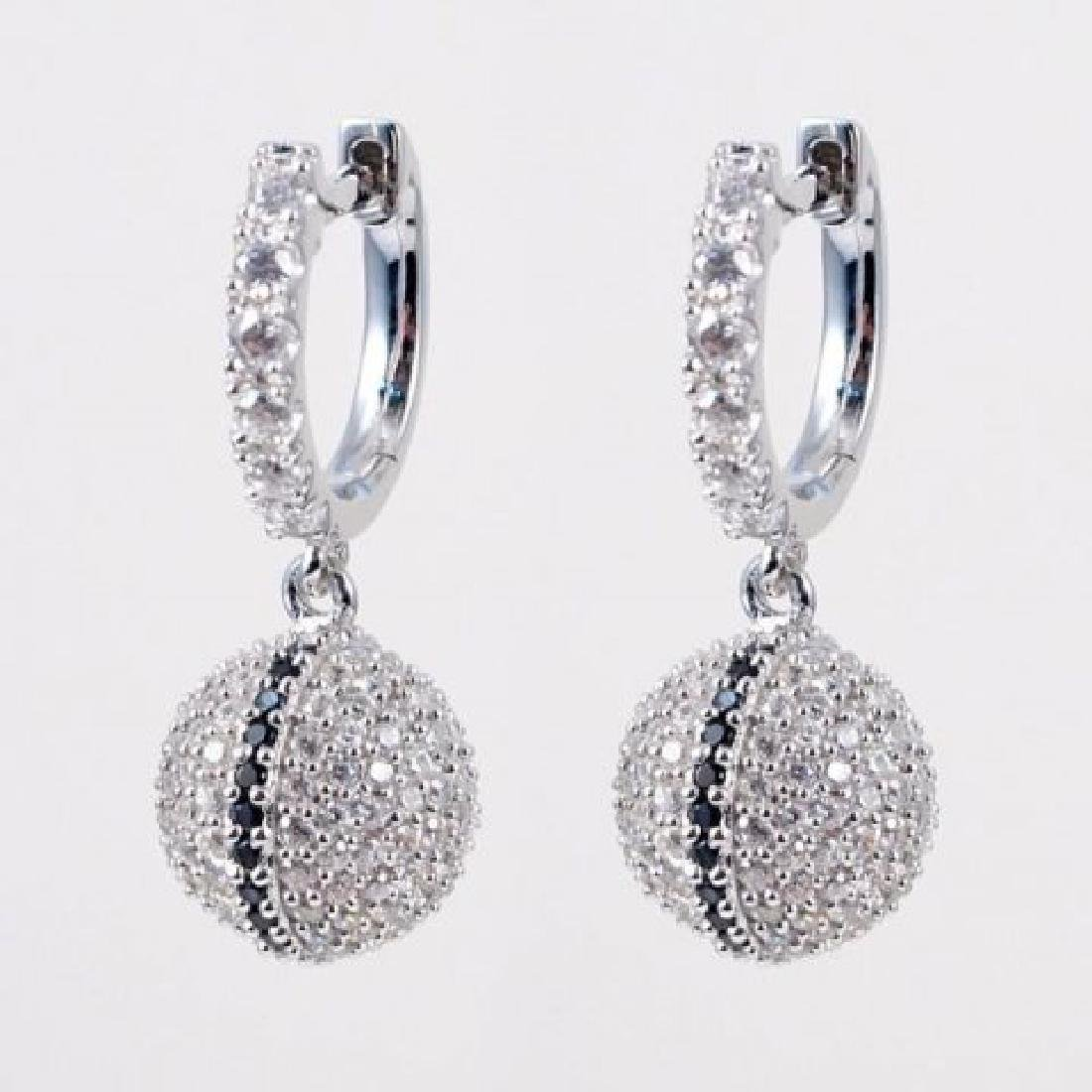 Creation Diamond Ball Earrings 2.25Ct 18k W/g Overlay