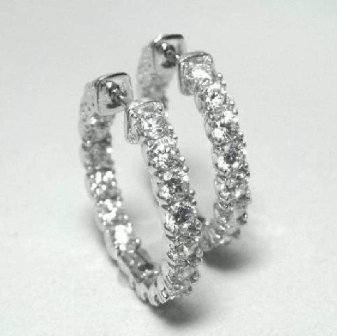 Creation Diamond Hoop Earrings 18k W/G Overlay - 2