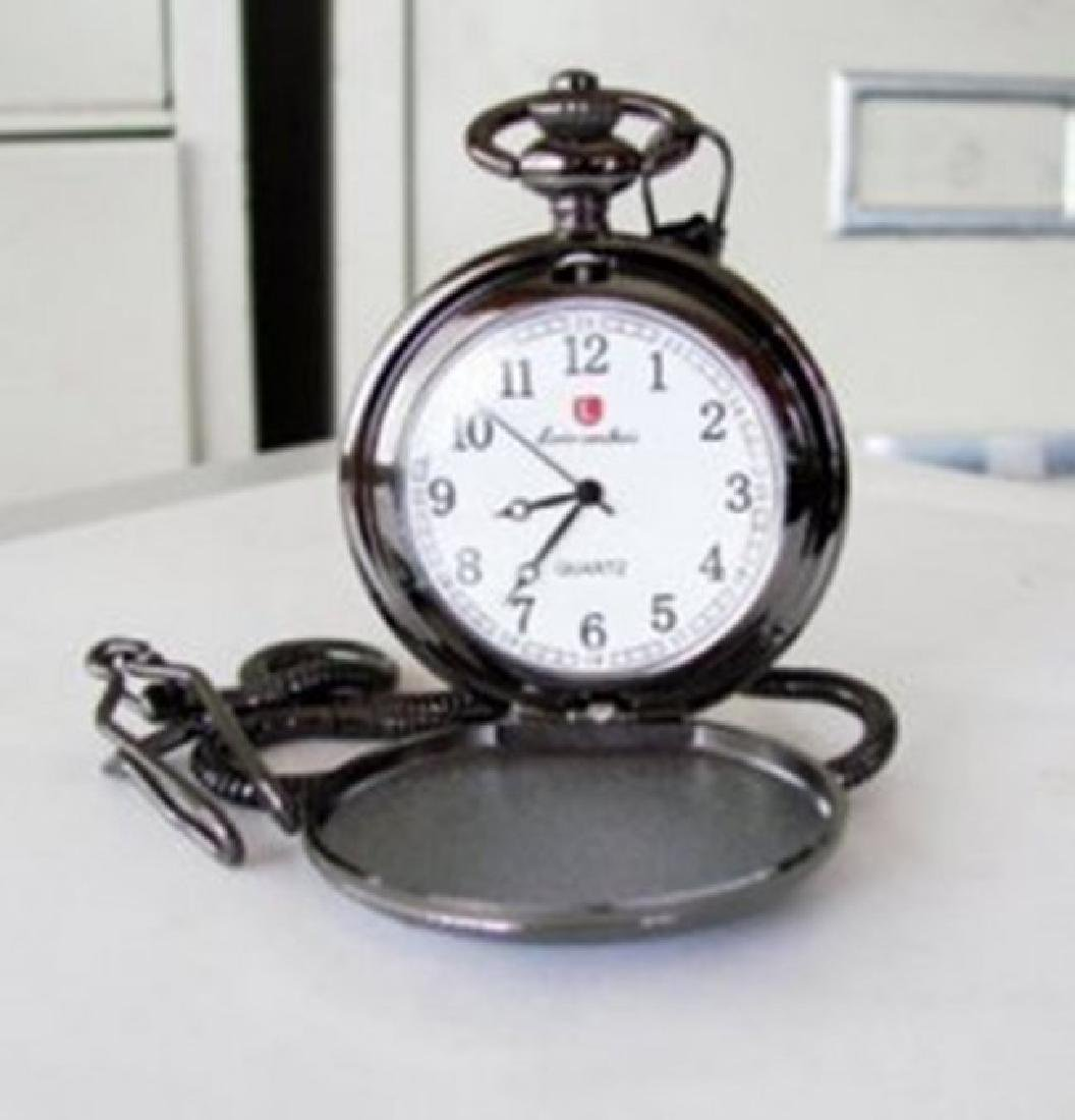 """Pocket Watch 'L' Luis Cardini Stainless 14.5"""" Chain"""