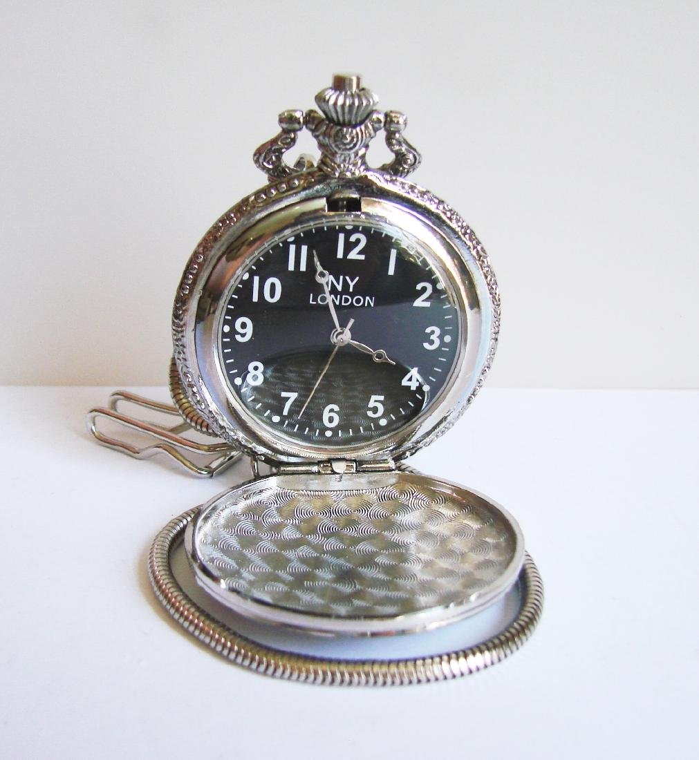 Pocket Watch NY LONDON 18k W/g Overlay