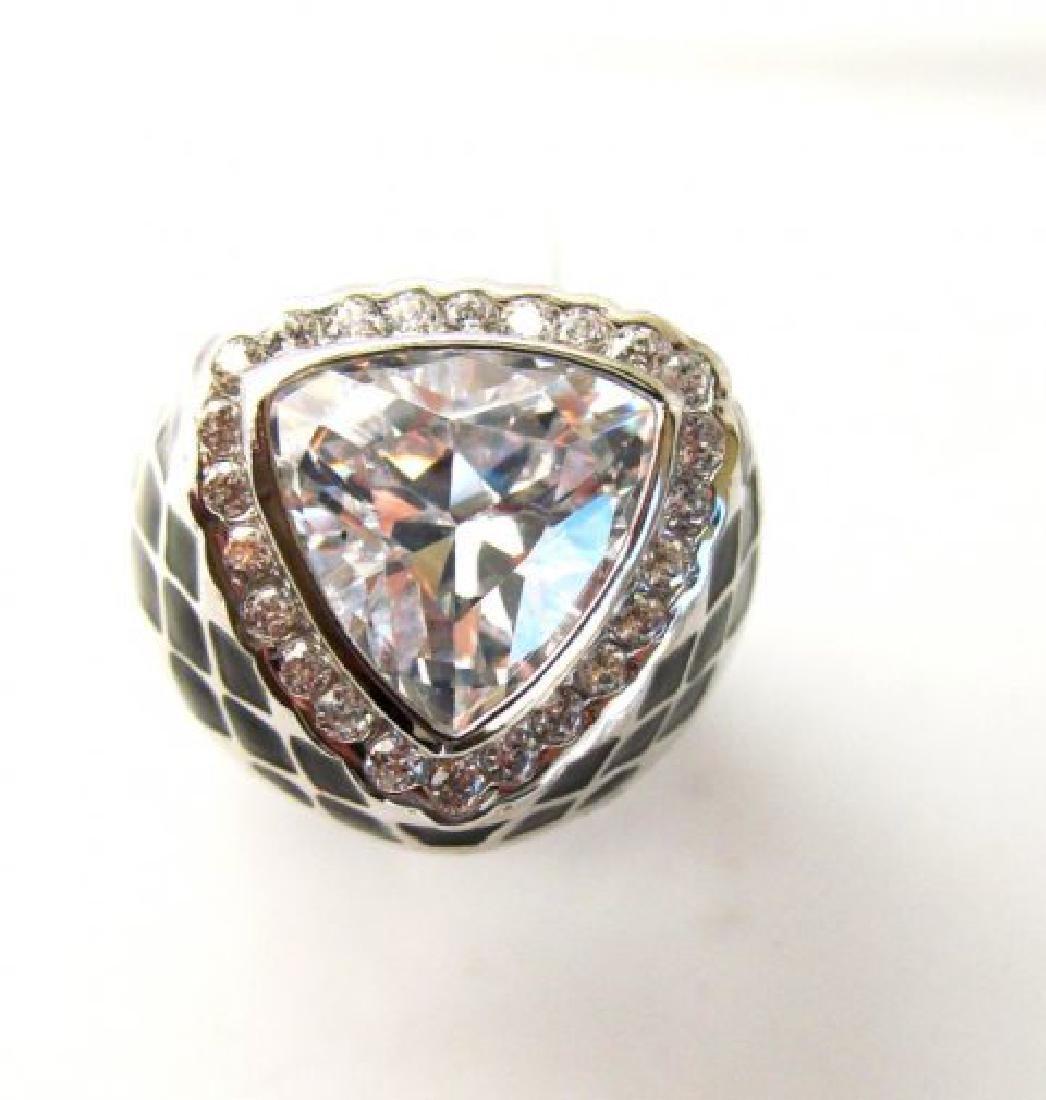 Creation Diamonds Ring 4.30Ct 18k W-B/g Overlay