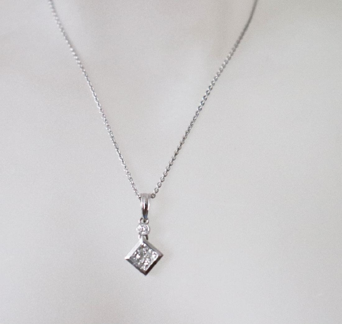 Diamond Square Pendant:.49Ct 18k W/g