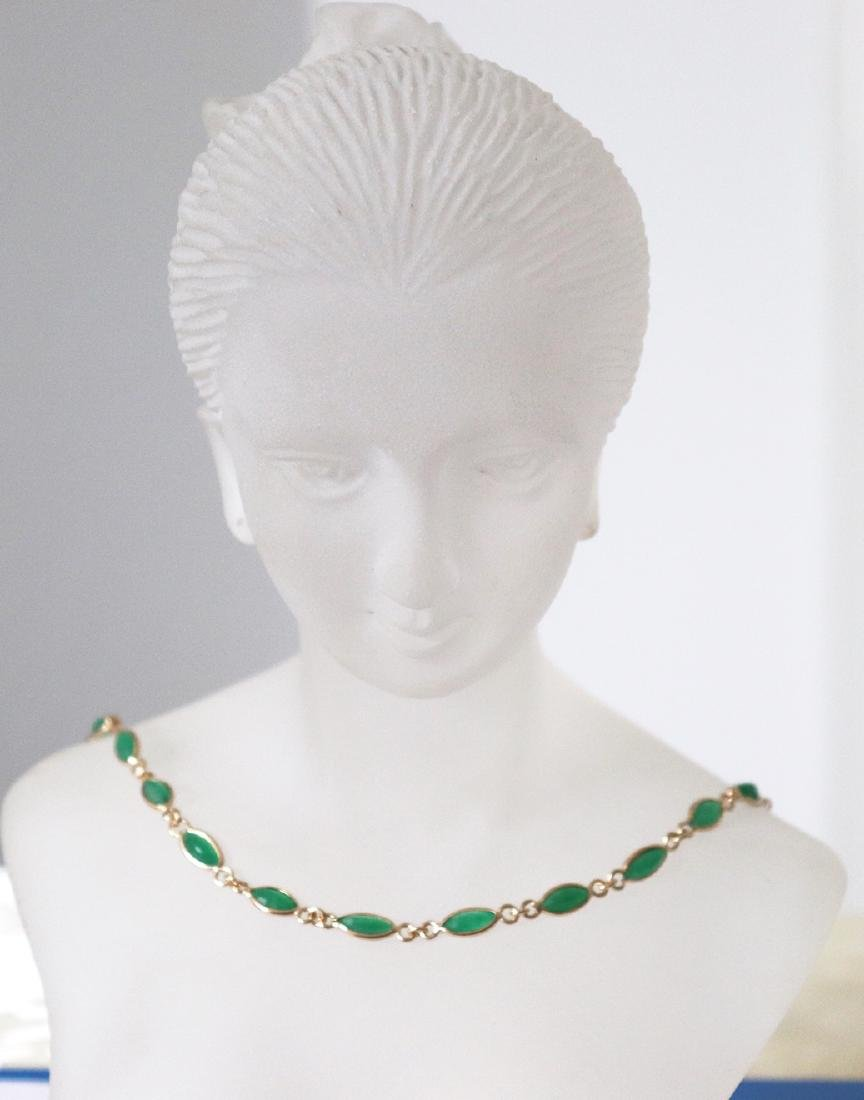 Jade Necklace 11.02Ct 14k Y/g